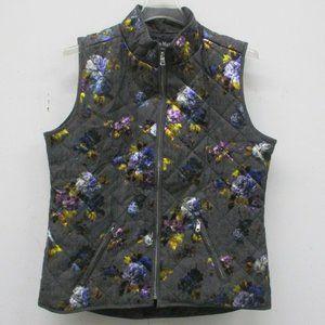 Jason Maxwell Quilted Vest Jacket Floral Medium